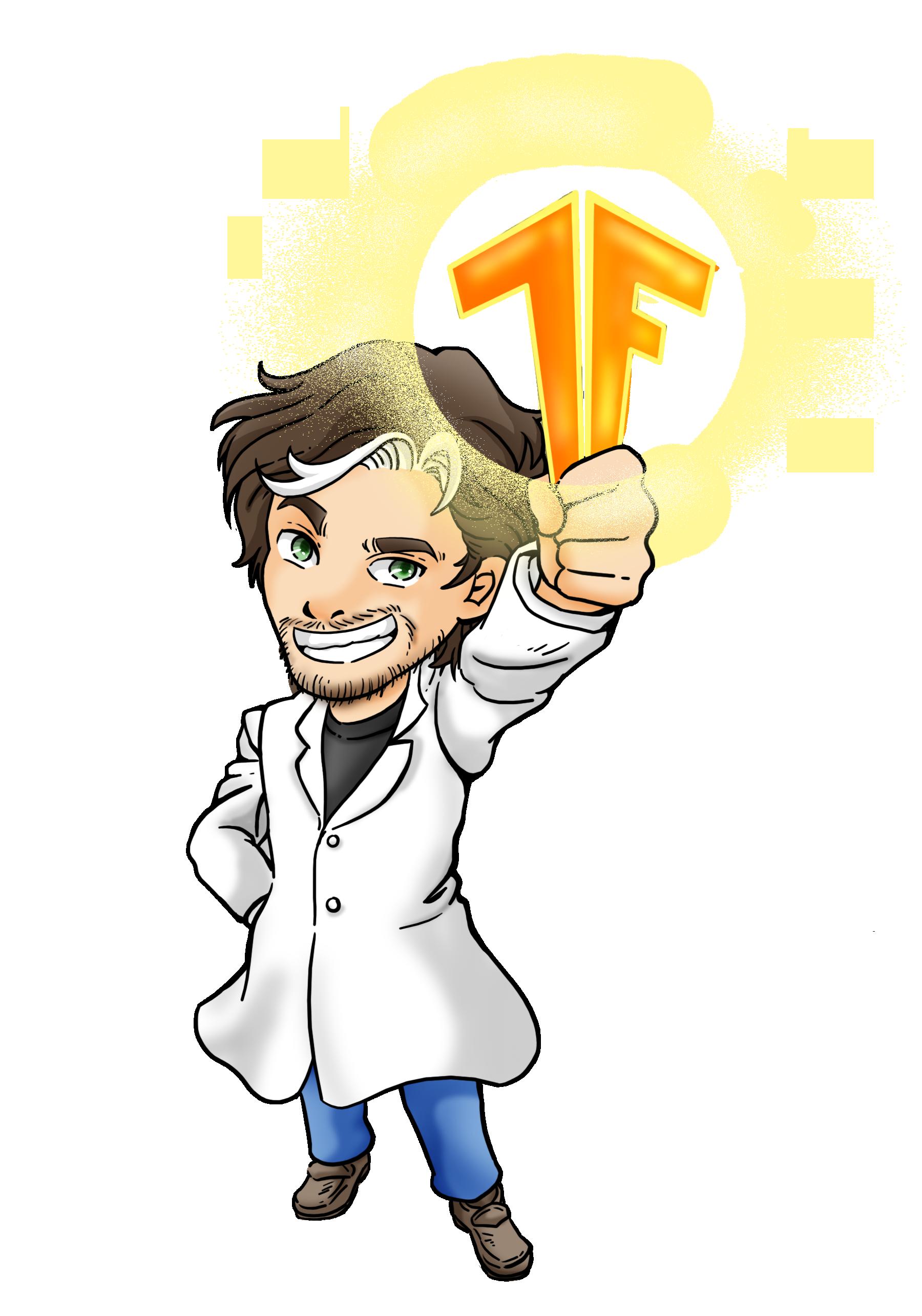 Gant holding a TensorFlow logo